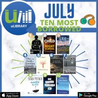 uLibrary Most Borrowed Titles for July Social Media Tile